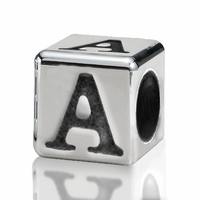 Silver Finish Pewter 4.5mm Alphabet Bead Letter A