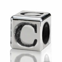 Silver Finish Pewter 4.5mm Alphabet Bead Letter C