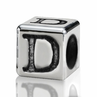 Silver Finish Pewter 4.5mm Alphabet Bead Letter D