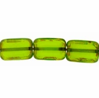 Picasso Milky Peridot 8x12mm Rectangular Window Beads (12PK)