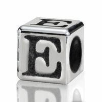 Silver Finish Pewter 4.5mm Alphabet Bead Letter E