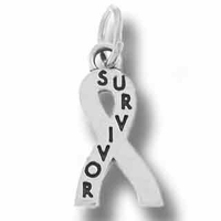 Sterling Silver Survivor Support Ribbon Charm