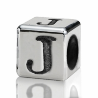 Silver Finish Pewter 4.5mm Alphabet Bead Letter J