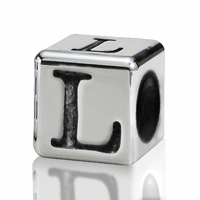Silver Finish Pewter 4.5mm Alphabet Bead Letter L