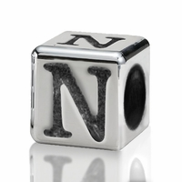 Silver Finish Pewter 4.5mm Alphabet Bead Letter N
