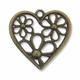Antiqued Brass 40mm Flowers Heart Pendants (4PK)