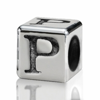 Silver Finish Pewter 4.5mm Alphabet Bead Letter P