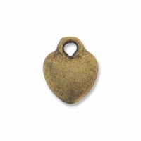 Antiqued Brass 10mm Small Puffed Heart Charm (10PK)