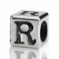 Silver Finish Pewter 4.5mm Alphabet Bead Letter R