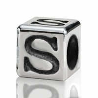Silver Finish Pewter 4.5mm Alphabet Bead Letter S