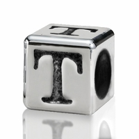 Silver Finish Pewter 4.5mm Alphabet Bead Letter T