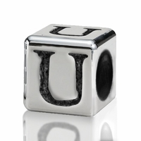 Silver Finish Pewter 4.5mm Alphabet Bead Letter U