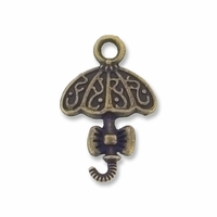 Antiqued Brass 20mm Fancy Umbrella Charm (10PK)