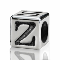 Silver Finish Pewter 4.5mm Alphabet Bead Letter Z