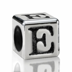 Silver Finish Pewter 5.5mm Alphabet Bead Letter E