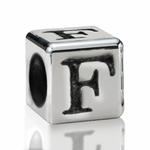Silver Finish Pewter 5.5mm Alphabet Bead Letter F