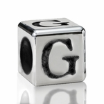 Silver Finish Pewter 5.5mm Alphabet Bead Letter G