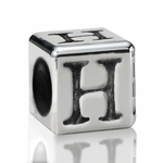 Silver Finish Pewter 5.5mm Alphabet Bead Letter H