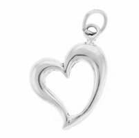 Large Open Heart Sterling Silver Pendant