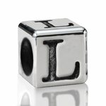 Silver Finish Pewter 5.5mm Alphabet Bead Letter L