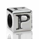 Silver Finish Pewter 5.5mm Alphabet Bead Letter P