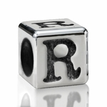 Silver Finish Pewter 5.5mm Alphabet Bead Letter R
