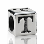 Silver Finish Pewter 5.5mm Alphabet Bead Letter T