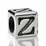 Silver Finish Pewter 5.5mm Alphabet Bead Letter Z