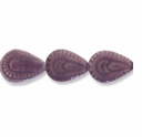 Porcelain Beads, light purple, 29x23mm-31x23mm carved puffed teardrop  (8 inch strand)