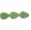 Porcelain Beads, medium green, 29x23mm-31x23mm textured puffed teardrop  (8 inch strand)