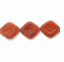 Porcelain Beads, orange, 31x28mm-33x29mm fancy puffed diamond  (8 inch strand)