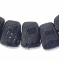 Porcelain Beads, dark grey, 27x21mm-29x22mm top-drilled puffed trapezoid  (8 inch strand)