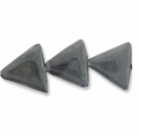 Porcelain Beads, dark grey, 26x26x26mm-27x27x27mm puffed triangle  (8 inch strand)
