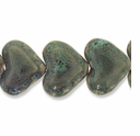 Porcelain Beads, light honey and pale green, 42x33mm-42x35mm puffed heart  (8 inch strand)