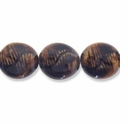 Porcelain Beads, honey, 27-28mm twisted puffed flat round  (8 inch strand)