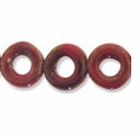 Porcelain Beads, red and brown, 20mm round donut. (8 inch strand)