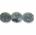 Porcelain Beads, light blue and dark green, 22x20mm textured flat oval with 2.5-3mm hole. (8PK).