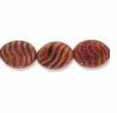 Porcelain Beads, orange, 24x19mm-26x20mm textured puffed oval with wave design. (8 inch strand)