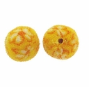 14mm Indonesia Yellow Floral Design Resin Beads (5PK)