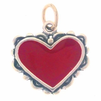 Enamel Filigree Red Heart Sterling Silver Charm