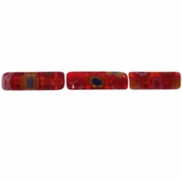 Red Puffed Tube 4x13mm Millefiori Beads (1 Strand)