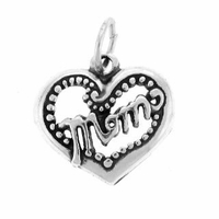 Mom Heart Sterling Silver Charm