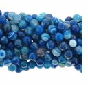 8mm Blue Stripe Facated Beads 16 Inch Strand