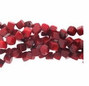 Red Coral Bamboo Dice Beads 15 Inch Strand