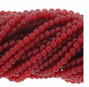 6mm Ruby Round Glass Beads 16 inch Strand