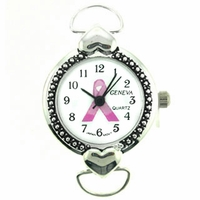 Pink Awareness Ribbon Loop Two Hearts Round Watch Face with Hearts