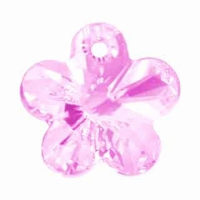 Swarovski 12mm Light Rose 6744 Flower Crystal Pendants
