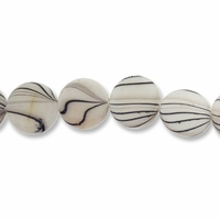White Stripe 15mm Flat Round Shell Beads 16 Inch Strand