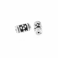 6.5 x 4mm Bali Style Tube Sterling Silver Bead (1PC)