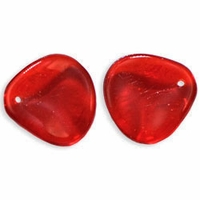 Czech Rose Petals 14/13mm Siam Ruby Glass Beads (25PK)